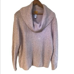 Ruby Rd. Pink Sequined Cowl Neck Sweater Size L